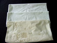 3 Antique Pillowcases, Embroidery, Cutwork & Lace