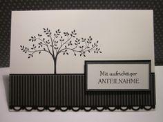 """#stampin up - Trauerkarte-In Gedanken bei dir-VersaMark Schwarz-Schwarz-Designerpapier schwarz, Flüsterweiß, Anthrazitgrau Sonstiges: Stanze """"Häkelbordüre"""