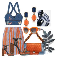 """Orange?blue"" by kloeyblue ❤ liked on Polyvore featuring Miu Miu, Carven, Valentino, 1st & Gorgeous by Carolee, Dolce&Gabbana, Lanvin and Quiksilver"