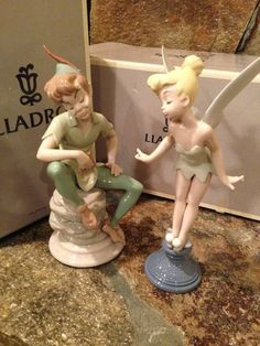 Peter Pan And Tinker Bell Hand Signed Lladro Disney Figurines