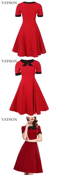 YATHON Vintage Elegant Party Dress Womens 2017 Pinup Button Bow O-neck Retro Rockabilly Swing Casual Work A Line Skater Dresses