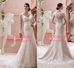 Hot Fall Winter Lace Mermaid Wedding Dresses Sexy V Neck Buttons Back Sheer Long Sleeves Beads Appliques Vintage Royal Bridal Gown BO7009 from Babyonline,$148.46   DHgate.com