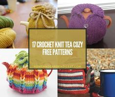 crochet-knit-tea-cozy-free-patterns-thumb Crochet Fairy, Crochet Birds, Crochet Hats, Tea Cosy Pattern, Free Pattern, Teapots Unique, Tea Cozy, Simple Colors, Brighten Your Day