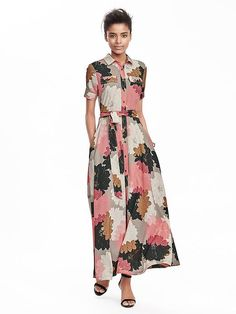 Floral Maxi Shirt Dress at Banana Republic Maxis, Maxi Shirt Dress, Dress Up, Modest Dresses, Summer Dresses, Summer Maxi, Maxi Dresses, Vestido Maxi Floral, Camisa Formal