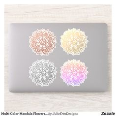 Multi Color Mandala Flowers Set of 4 Sticker Cute Laptop Stickers, Funny Stickers, Decorated Water Bottles, Vinyl Sheets, Personalized Stickers, White Ink, Business Logo, Design Your Own, Mandala