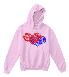 0fcfafa483dd Dve srdiečkové modré a červené svetlo ružové tričko vpredu Mikiny S  Kapucňou