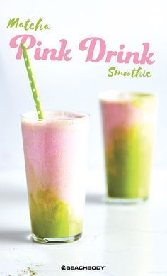 Matcha Pink Drink Smoothie // healthy recipes // shakeology ideas // drinks // beverages // snacks // spring // summer // vegan // vanilla // coconut // strawberries // Beachbody // BeachbodyBlog.com