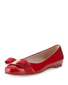 Salvatore Ferragamo Varina Patent Bow Ballerina Flat, Rosso (Red), Women's, Size: 5C/35EU