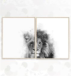 Set of 2 Black and White lions printable watercolor wall art. - Set of 2 Black and White lions printable watercolor wall art. Lion Wall Art, Lion Art, Safari Nursery, Nursery Prints, Lion And Lioness Tattoo, Black And White Lion, White Art, Lion Painting, Watercolor Walls