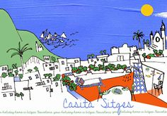 Casita Sitges loves art and creativity!  We have just created this naive postcard for our guests. You will find it printed at the Casita. With a bit of fantasy and imagination you can find here pretty much any iconic symbol of Sitges: it's asymmetric church, the roofs of the old town, palm trees and the blue sky which is there over 300 days per year!  The terrace of our Casita, with its hot shower and the sun beds surrounded by colourful flowers, is iconic :-)! How do you like this…