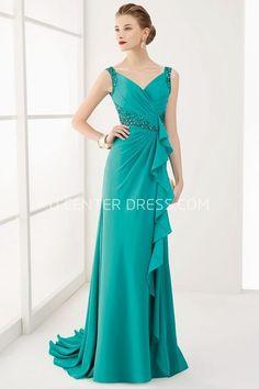 $98.89-Sexy V Neck Beaded Waist Long Prom Dress With Ruffles. http://www.ucenterdress.com/v-neck-v-back-crystal-waist-long-prom-dress-with-ruffles-and-brush-train-pMK_301438.html.  Shop for cheap prom dresses, party dresses, night dresses, maxi dresses, little black dresses, junior prom dresses, girls prom dresses, designer prom dresses for sale. We have great 2016 prom dresses on sale. Buy prom dresses online at UcenterDress.com #prom #dress today!