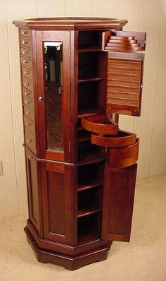 """Clark Model """"A"""" Octagon Walnut Revolving Dental Cabinet"""