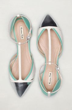 Massimo Dutti by Zara contrast white, mint & silver purse flats
