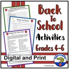 Back to School Activities Grades 4 - 6 First Week of School Digital and Print Back To School Activities, Teaching Activities, Classroom Activities, Teaching Ideas, Beginning Of The School Year, Going Back To School, Homework Calendar, Informational Writing, Word Puzzles