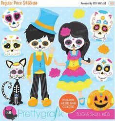80% OFF SALE Sugar skull kids clipart by Prettygrafikdesign