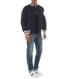 MONCLER GAMME BLEU PADDED BOMBER JACKET WITH STRIPE DETAILED COLLAR & HEM