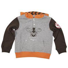 Hættetrøje Hummel lysgrå melange med orange og brune detaljer - Model Larch