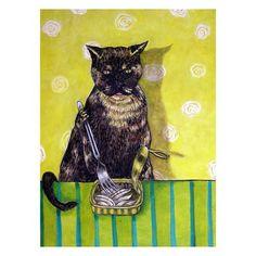 Tortoise  Shell Cat Eating Sardines Art Print by SCHMETZPETZ