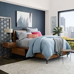 Shop storage bed from west elm. Find a wide selection of furniture and decor options that will suit your tastes, including a variety of storage bed. Dream Master Bedroom, Master Bedroom Design, Home Decor Bedroom, Master Suite, Master Art, Bedroom Storage For Small Rooms, Bedroom Small, Bedroom Ideas For Small Rooms For Adults, Blue Bedroom Ideas For Couples
