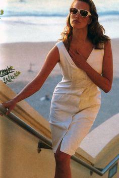 Denis Piel for American Vogue, May 1987. Dress by Katharine Hamnett.
