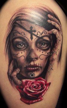 Day of the Dead tattoo, Dia de Los Muertos by Carl Grace