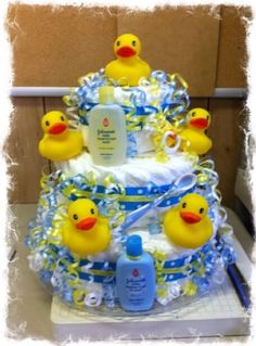 Trendy baby shower ideas for boys themes rubber duck diaper cakes Ducky Baby Showers, Baby Shower Duck, Rubber Ducky Baby Shower, Boy Baby Shower Themes, Baby Shower Diapers, Baby Shower Parties, Baby Shower Gifts, Rubber Ducky Cake, Baby Gifts
