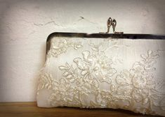 Tru Luv's Lace & Pearl Bridal Clutch Ivory by ItsSoClutch on Etsy, $60.00
