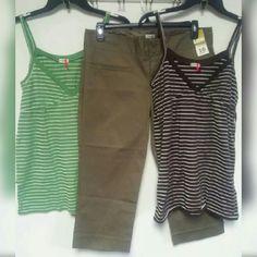 Bundle Lot of 3 Tank Tops size L & Capri pants 10 Lot of 3 OLD NAVY women's Tank Tops size L and Capri pants NWT Size 10 Old Navy Pants