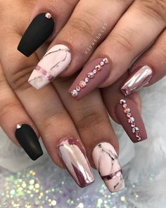 36 Trendy and attractive marble coffin nails design - make up and nails - . - 36 Trendy and attractive marble coffin nails design – make up and nails – … – - Marble Acrylic Nails, Best Acrylic Nails, Acrylic Nail Designs Glitter, Cute Nails, Pretty Nails, My Nails, Smart Nails, Neon Nails, Fabulous Nails