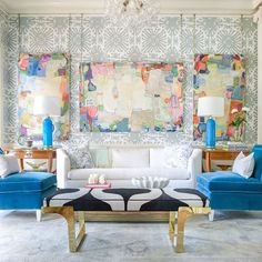 colorful abstract art by cathy lancaster | living room with quadrille fabrics wallpaper | blue print | blueprintstore.com
