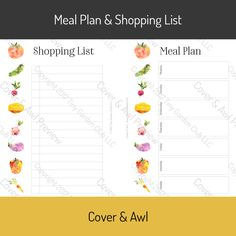 A two-sided planner insert for your A5 planner. Plan your menu and work out your shopping list. two-sided printed in color 10 copies hole punching available
