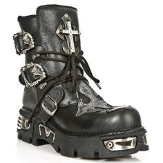 NEWROCK New Rock 1033-S1 Buffalo Leather Boot Silver T Cross Reactor Black Boots