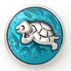 1 PC 18MM Blue Turtle Nautical Enamel Chunk Pop Charm Zinc Silver Snap Popper Fits Bracelet Interchangeable ds5027 CC1146 Diameter Size: 18MM Material: Zinc Alloy and enamel