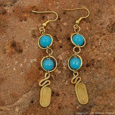 Maasai Market African Kenya Jewelry Brass Swirl Color Bead Earrings 696-81 #Handmade