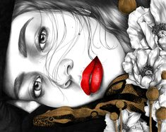 Sleeping Poppy #illustration #fashion #fashionillustration #helenecayre #snake #redlips #poppies Art Academy, Pencil Portrait, Red Lips, Pencil Drawings, Poppies, Book Art, Halloween Face Makeup, Creations, Sleep