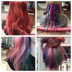 Amazing hair transformation @pkaihair using @olaplex for this hidden colour rainbow hair
