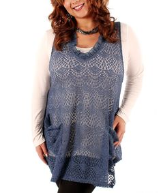 Take a look at this Lily Blue Crocheted Pocket Sleeveless Top - Plus on zulily today!