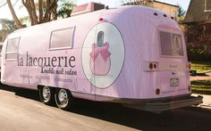 Oh La La Lacquerie! Think Pink for Mobile Spa Parties  -- this charming, tricked out Airstream Trailer travels around San Francisco for mobile mani pedi parties!   http://www.spaindex.com/oh-la-la-lacquerie-mobile-spa-parties/