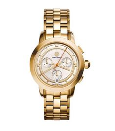Tory Burch Gold-Tone/Ivory Chronograph, 37 mm. I HAVE BEEN WAITING FOR THESE TO COME OUT!!! I NEED THIS!!!!!
