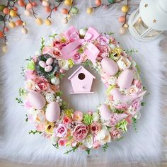 Cute Pink Easter Wreath 14 Front Door Spring Wreath Pink Foyer Wreaths Easter Decorarion Home Decore Easter Egg Wreath Small wreath Pink Wreath, Tulle Wreath, Holiday Wreaths, Spring Wreaths, Easter Wreaths Diy, Winter Wreaths, Summer Wreath, Diy Ostern, Wreath Crafts