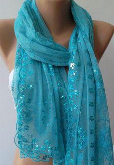 Blue Turkish Shawl Scarf by womann on Etsy, $23.90