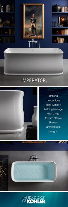With a nod toward classic Roman architecture, the Imperator freestanding bath offers powerful beauty & a relaxing reprieve.