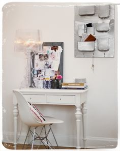 white desk and mood board. good idea for my small room :)