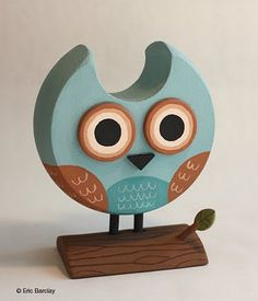 Owl made with a knob, coat hanger and fence post.  Eric Barclay is an AMAZING illustrator.  Love his use of everyday objects.