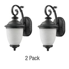 Belmont Collection 1-Light Slate Outdoor Wall Lantern 2-Pack