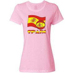 The Spanish flag flies in the background in red and yellow with its coat of arms. In the front, a soccer ball shows, also in the flag motif. Below it all, you find the word SPAIN  in the flag flag colors. The P has a tiny coast of arms. Shows here on this Women's T-Shirt .<br /><br /> Fun for supporting or cheering on TEAM SPAIN during international soccer or futbol meets, matches and tournaments. $19.99 ink.universalflags.com
