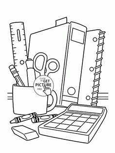 school supplies coloring page for children back to school coloring pages printables free wuppsy - Coloring Page Of A School