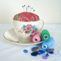 How to make a teacup pincushion ~ Craft tutorial