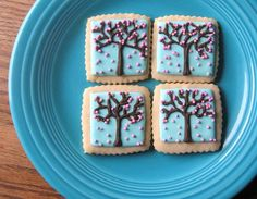 Cherry Blossom Cookies Cherry Tree Japanese Cookies Spring Royal Icing Decorated Sugar Cookies