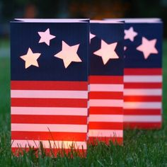 Free 4th of July red, white and blue luminaria printout - Easy Paper Crafts